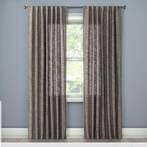 New Threshold Gray Textured Weave Curtain Panel